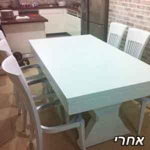 צביעת שולחן פינת אוכל בלבן
