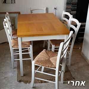 פינת אוכל איקאה+6 כיסאות שנצבעה בלבן