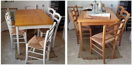 תמונה לפני ואחרי צביעת שולחן פינת אוכל