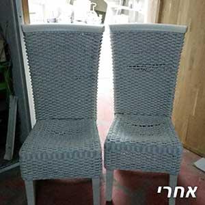 כיסאות ראטן לאחר צביעה ללבן