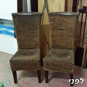 כסאות ראטן לפני צביעה